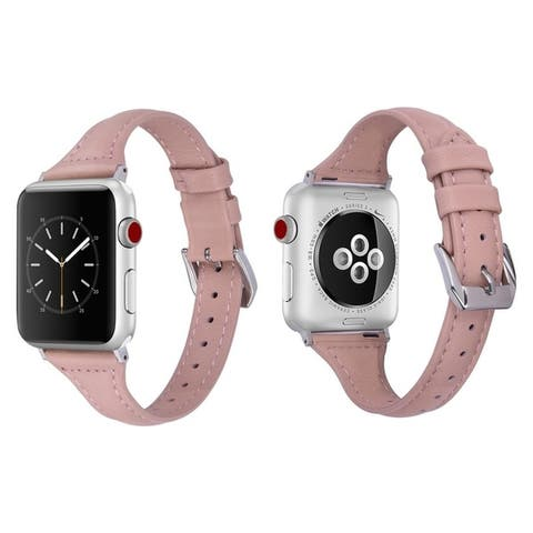 Genuine Leather Slim Skinny Band for Apple Watch Series 1, 2, 3, 4, and 5
