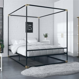 Link to CosmoLiving by Cosmopolitan Celeste Canopy Metal Bed Similar Items in Bedroom Furniture