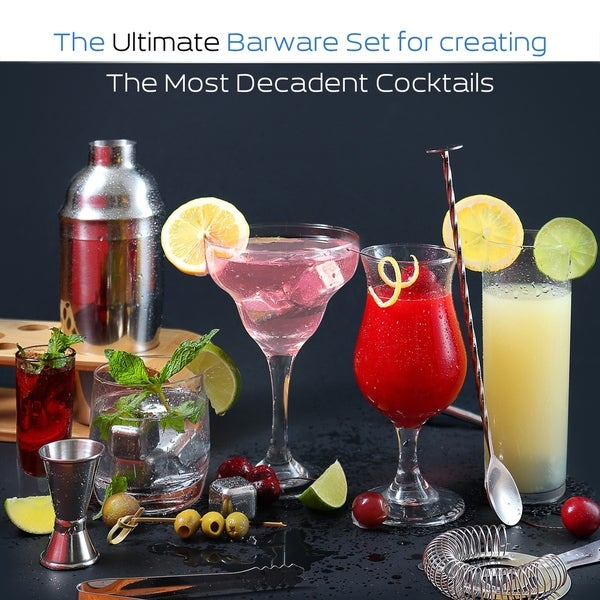 Mojito Drinking Glasses and Cocktail Muddler 3 Piece Set Bar Serving Kit