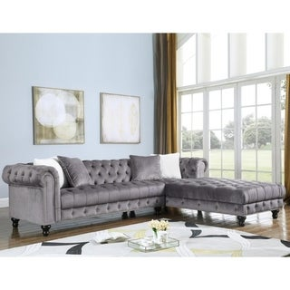 Best Master Furniture Right Facing 2 Pieces Tufted Sectional