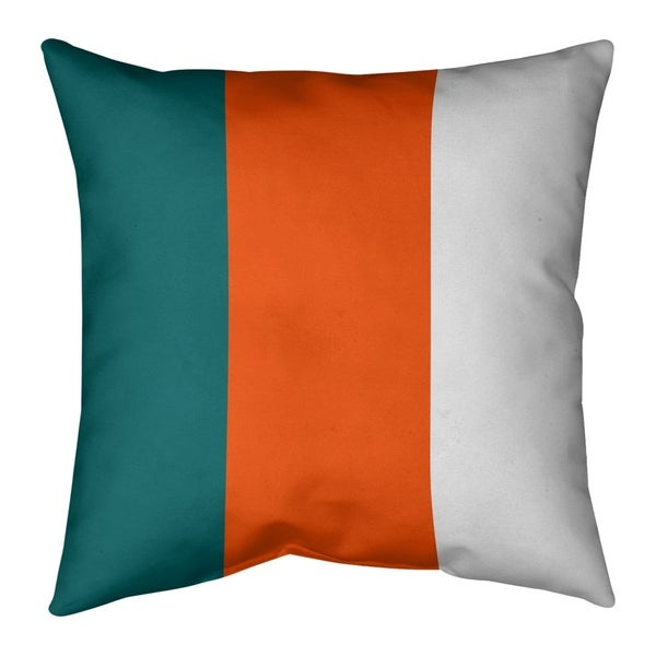 Miami Miami Throwback Football Stripes Pillow-Spun Polyester
