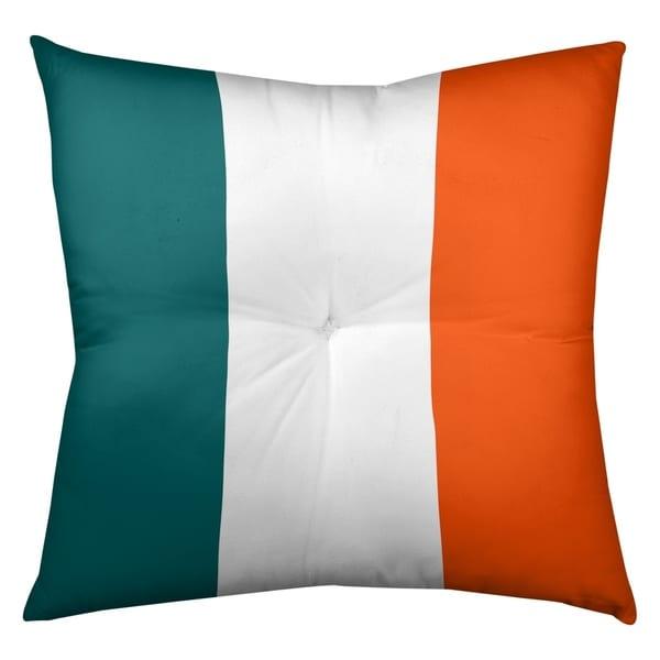 Miami Miami Throwback Football Stripes Floor Pillow - Square Tufted