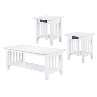 Mission 3-Piece Coffee Table Set with Charging Station