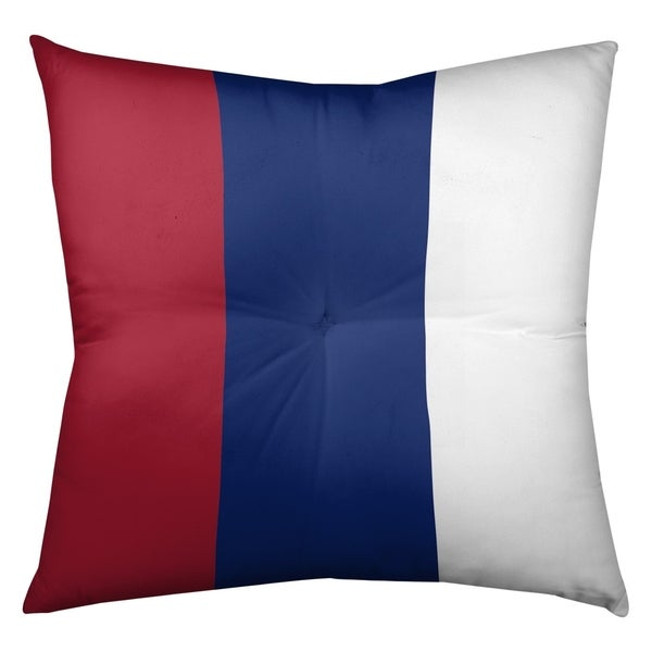 New York New York Big Football Stripes Floor Pillow - Square Tufted