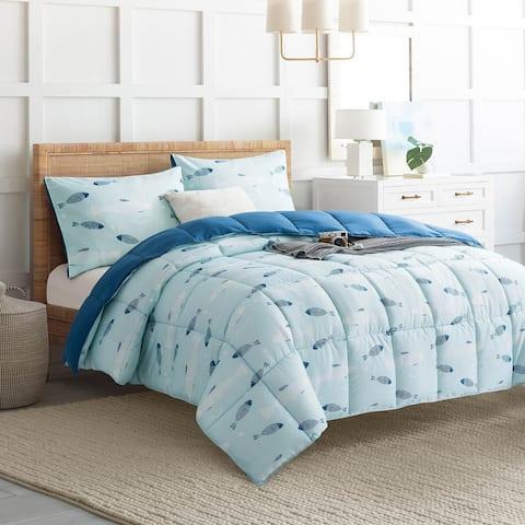 Swimming Fishes Reversible All Season Down Alternative Comforter Set