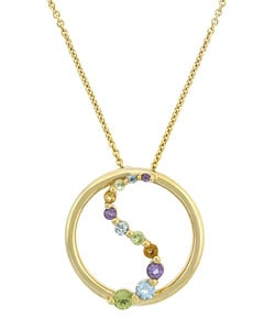 Glitzy Rocks 18k Gold over Silver Multi-gemstone Necklace