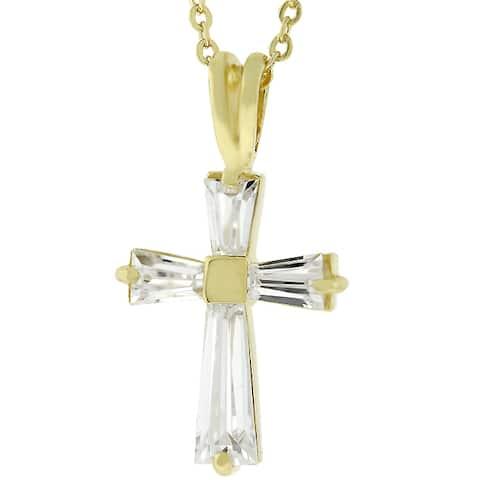 Kate Bissett Women's Goldtone Cubic Zirconia Cross Necklace