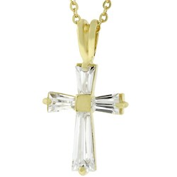 Kate Bissett Women's Goldtone Cubic Zirconia Cross Necklace