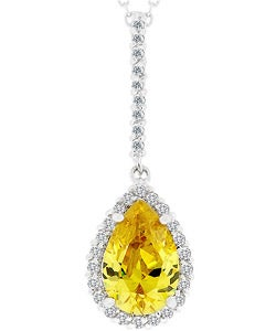 Kate Bissett Silvertone Yellow Cubic Zirconia Teardrop Necklace