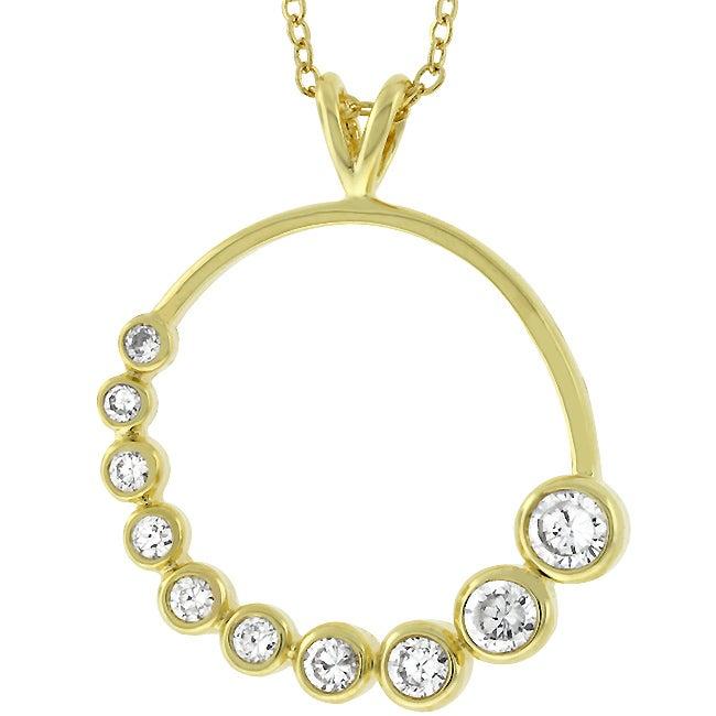 Kate Bissett Goldtone Cubic Zirconia Journey Circle Necklace