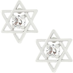 Kate Bissett Silvertone Cubic Zirconia Star of David Earrings