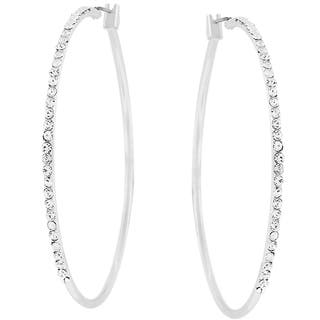 Kate Bissett Silvertone Thin Cubic Zirconia Hoop Earrings|https://ak1.ostkcdn.com/images/products/3028777/P11172345.jpg?impolicy=medium