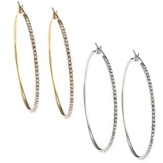 Kate Bissett Goldtone or Silvertone Cubic Zirconia Thin Hoop Earrings
