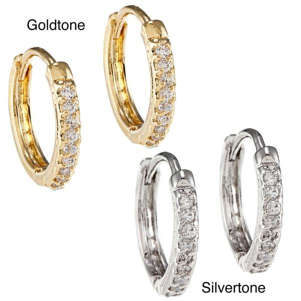 Kate Bissett Goldtone or Silvertone CZ Hoop Earrings