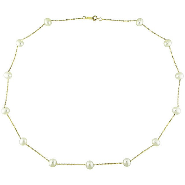 20in x 7.5mm Mia Diamonds 14k Solid Yellow Gold 7-8mm Black Fw Cultured Near Round Pearl Necklace