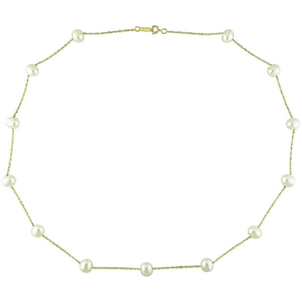 Miadora 10k Yellow Gold White Cultured Freshwater Pearl Necklace (5.5-6mm)