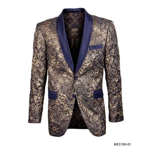 Empire Show Jacket Floral Design Classic Fit Shawl Collar Jacket