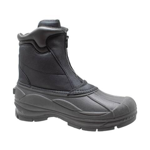 Mens Durable Nylon Winter Boots Zipper Black