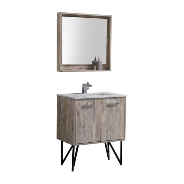 "Bosco 30"" Modern Bathroom Vanity w/ Quartz Countertop"