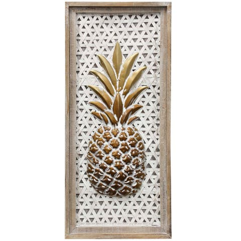 The Curated Nomad Pinapple Wood Framed Dimensional Metal Panel Wall Art