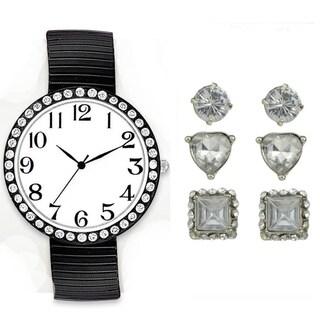 Jumbo Watch Set Black Stretch Band Watch Crystal Bezel 3 Pairs Stud Earrings Set