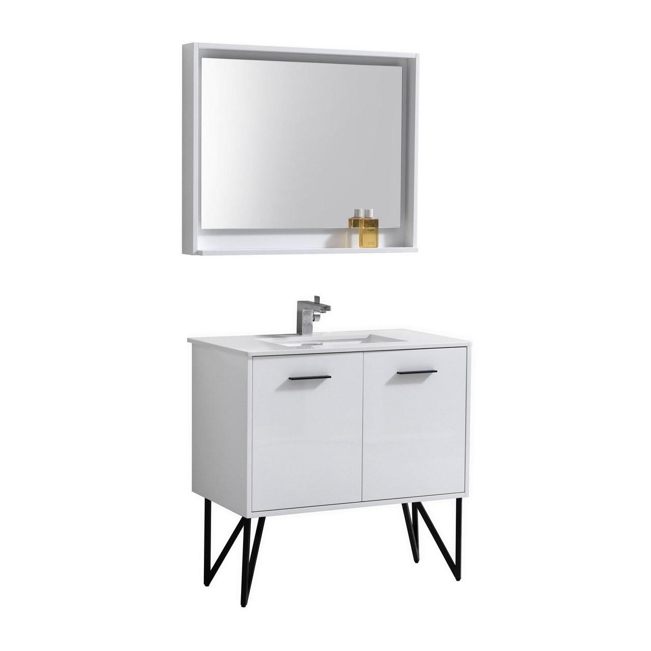 Bosco 36 High Gloss White Modern Bathroom Vanity W Quartz Countertop Overstock 30288539