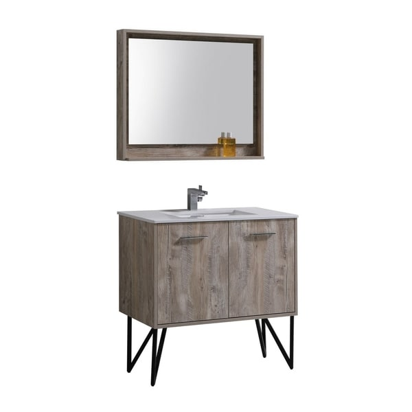 "Bosco 36"" Modern Bathroom Vanity w/ Quartz Countertop"