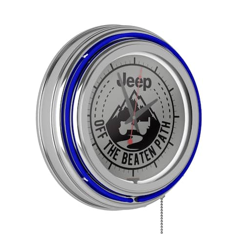 Jeep Neon Black Mountain Analog Wall Clock - 14.5 x 14.5 x 3