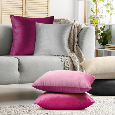 Nestl Bedding Solid Microfiber Soft Velvet Throw Pillow Cover - Set of 4