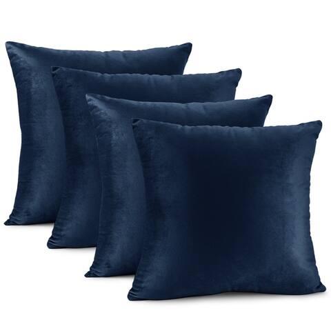 Nestl Bedding Solid Microfiber Soft Velvet Throw Pillow Cover - Set of 4