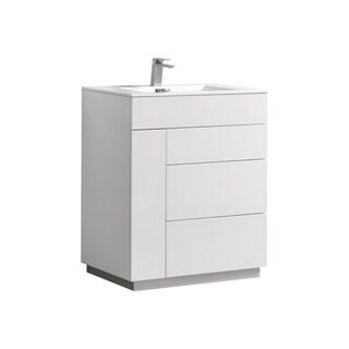 """Milano 30"""" Gloss White Floor Mount Modern Bathroom Vanity"""