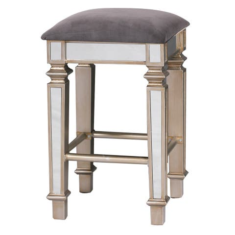 StyleCraft Silver Mirrored Square Stool with Gray Velvet Upholstery