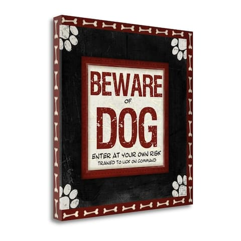 """""""Beware of Dog"""" by Jennifer Pugh, Fine Art Giclee Print on Gallery Wrap Canvas, Ready to Hang"""