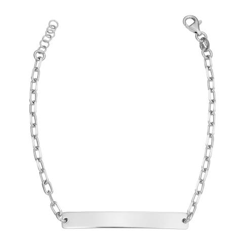 Rhodium Plated Sterling Silver Adjustable Length Curved Bar ID Bracelet (adjusts from 7 - 7.5 inches)