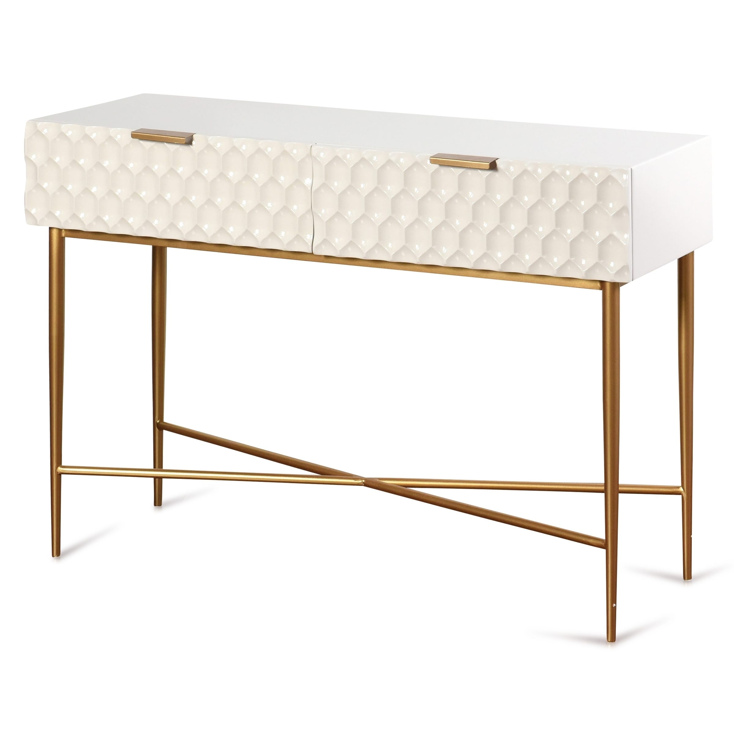 Stylecraft Glossy White Textured 2 Drawer Console Table With Gold Hardware Overstock 30290413