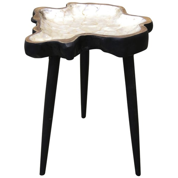 Carson Carrington Laggasen Exotic Hand-carved Solid Teak Inlay Side Table
