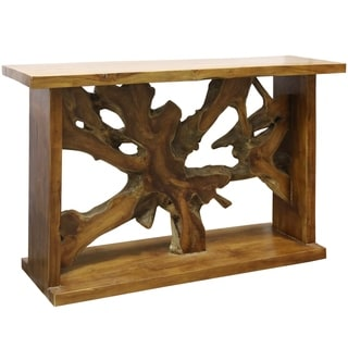 Bennet Natural Oil Rubbed Solid Teak Root Console Table