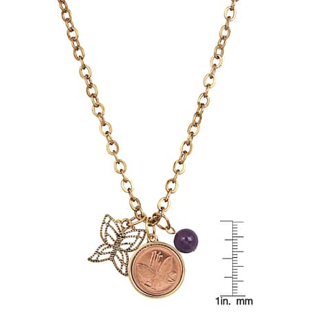 Butterfly Coin and Charm Goldtone Pendant Necklace