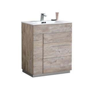 "Milano 30"" Nature Wood Floor Mount Modern Bathroom Vanity"