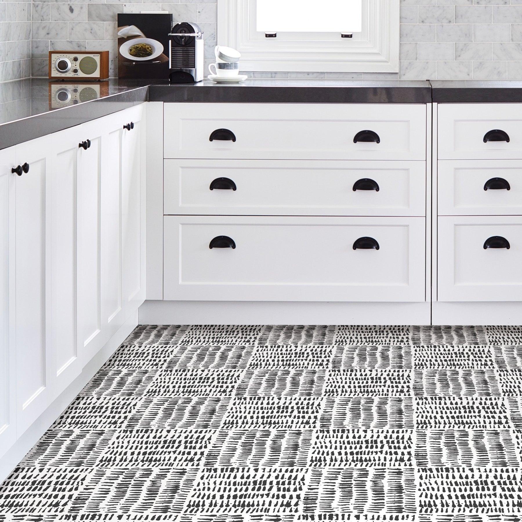Fillmore, Peel & Stick Noleby Floor Tiles   Black And White   No