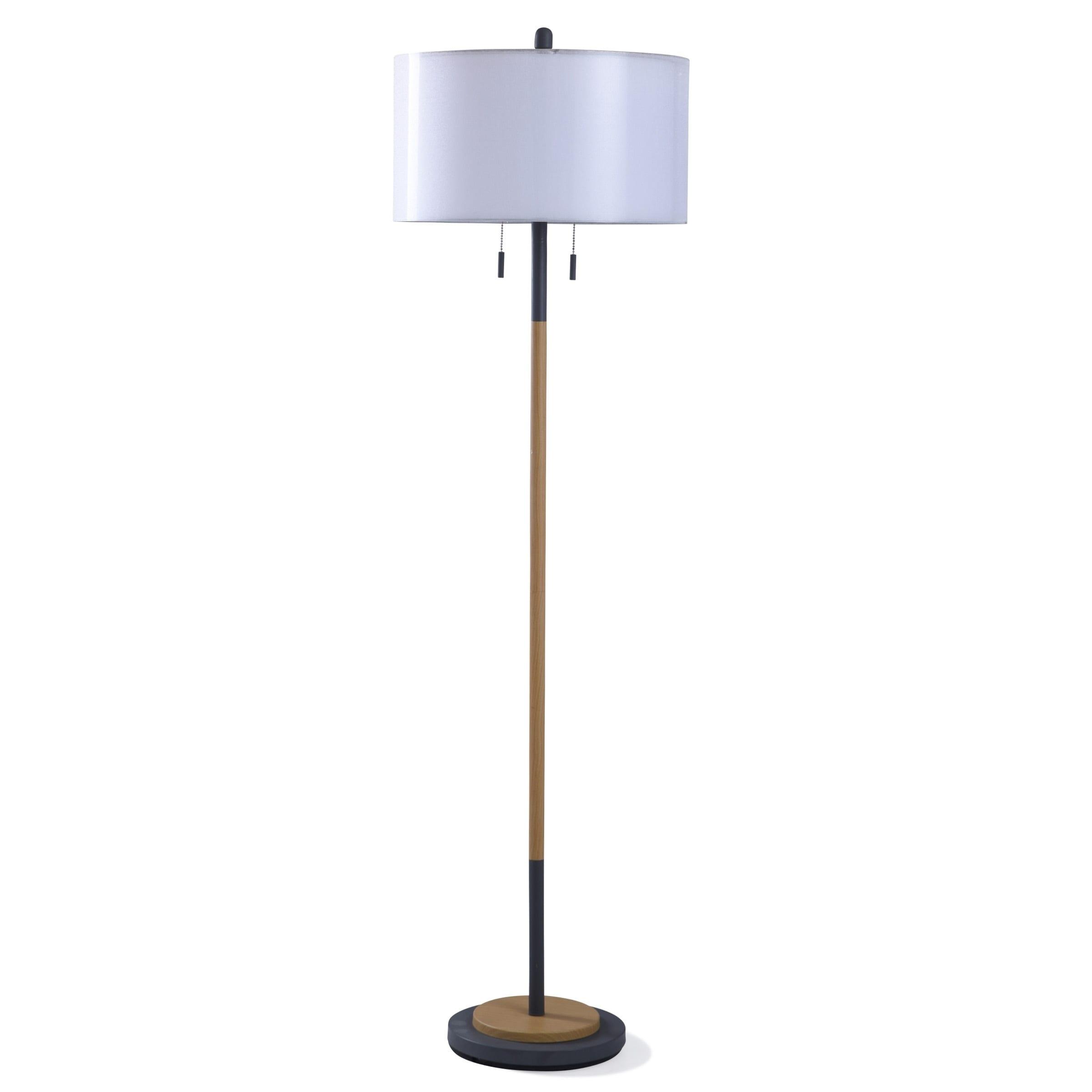 Lari 2 Light Black And Wood Floor Lamp
