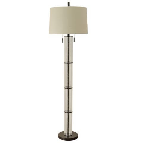 Terra 1-light Oil Rubbed Bronze with Clear Seeded Glass Encased Stem Floor Lamp with Oatmeal Drum Shade