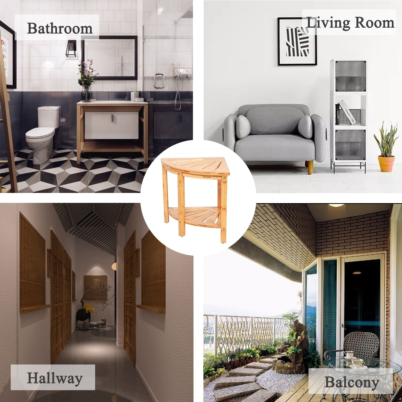 Kinbor Corner Shelf Multifunctional Storage Rack Bamboo Bench Seat For Bathroom Living Room Entryway