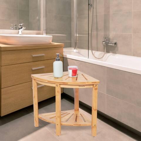 Kinbor Corner Shelf, Multifunctional Storage Rack, Bamboo Bench Seat for Bathroom, Living Room, Entryway