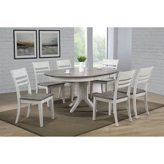 """Iconic Furniture Company 45""""x45""""x63"""" Contemporary Transitional Dinning Side Chair  Ash/ Stormy White 7- Piece Set"""