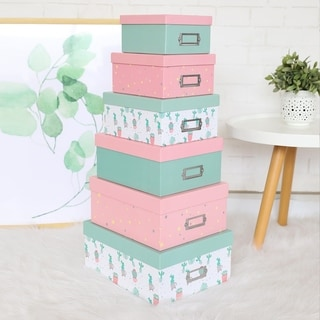Kinbor Large Gift Boxes w/ Lid, Set of 6 Decorative Treats Boxes, Bridesmaid Proposal Box for Gifts, Holidays, Crafting