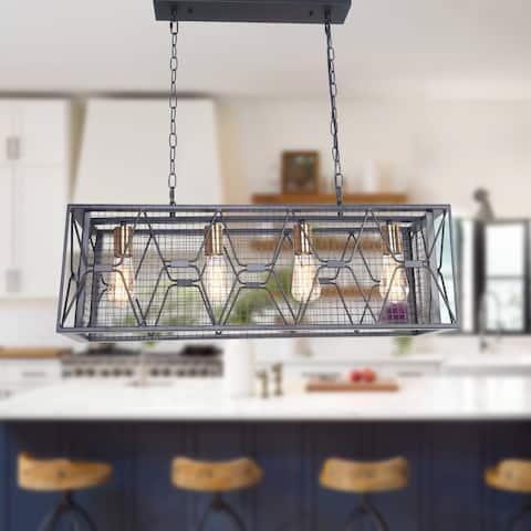 Rectangular Industrial Kitchen Island Lighting, 4-Light Farmhouse Hanging Ceiling Light Fixture