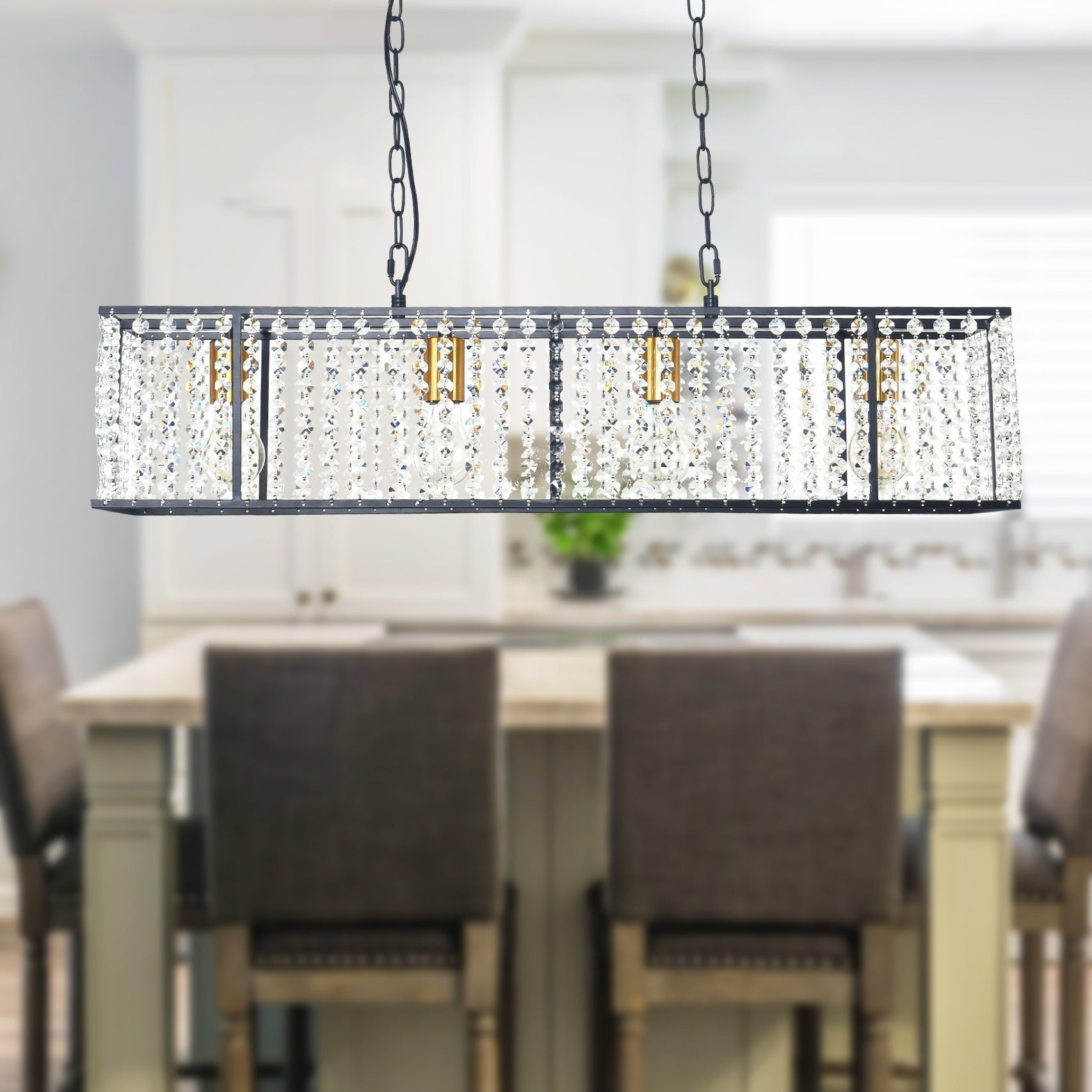 Image of: Shop Black Friday Deals On Modern Industrial Rectangle Kitchen Island Light Crystal Kitchen Island Linear Pendant For Dining Room On Sale Overstock 30293322