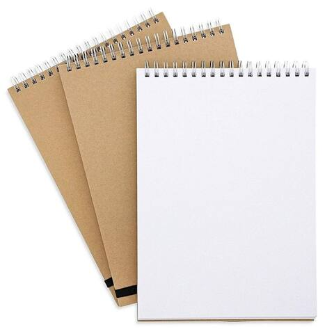 "3 Spiral Blank Sketchbook Paper Notebook Travel Journal Diary Kraft Cover 6.5x9"""