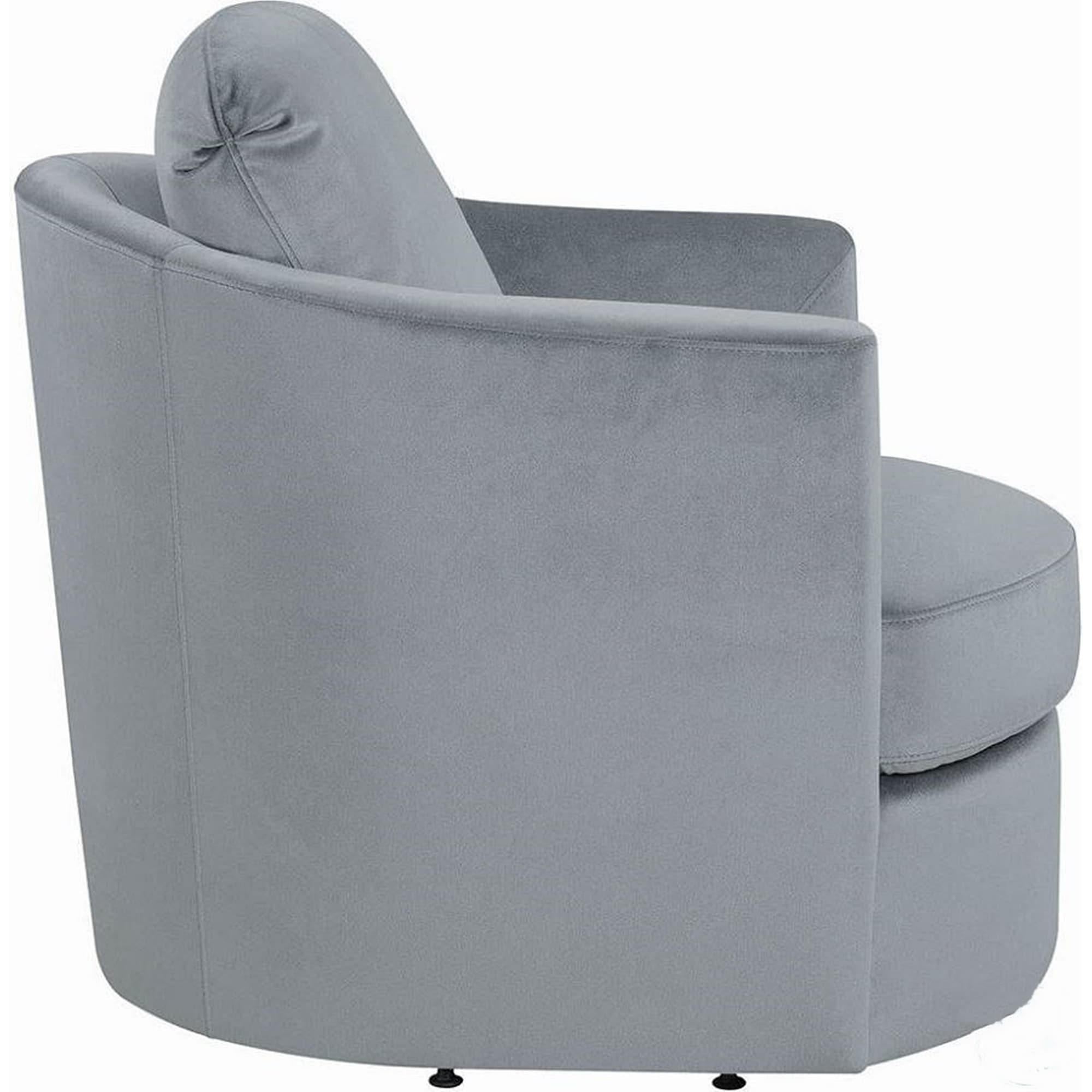 Ogden Grey Velvet Upholstered Round Swivel Accent Chair